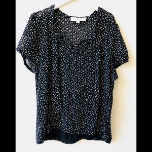 🌸 LOFT black polka dot blouse L